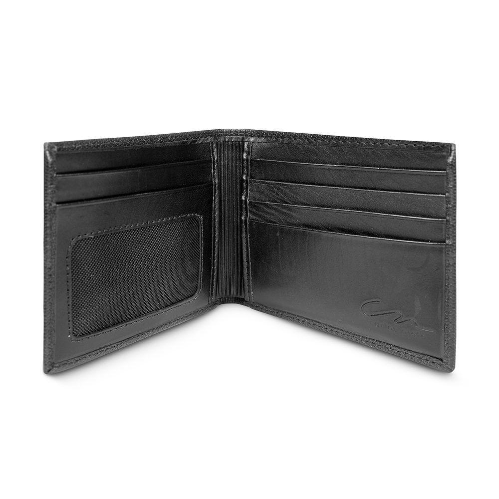 Billetera negra con exterior texturizado y placa metálica CN.