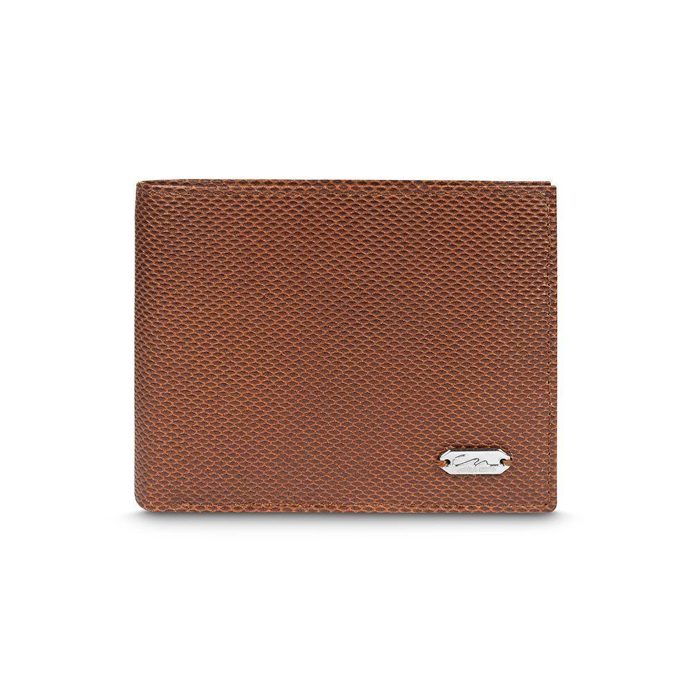 Billetera tabaco con exterior texturizado e interior liso con múltiples compartimientos.