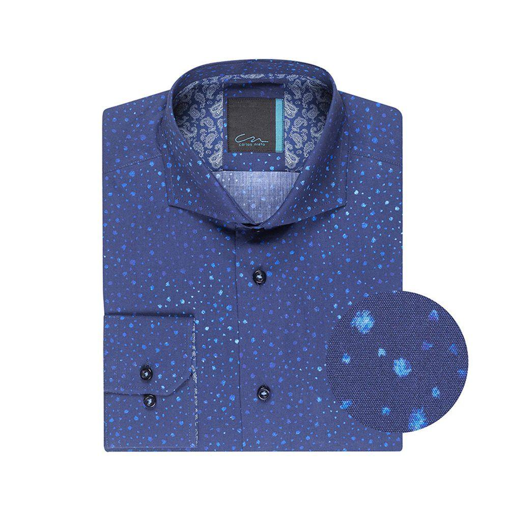 Camisa azul oscura en algodón 100% de Tekstina