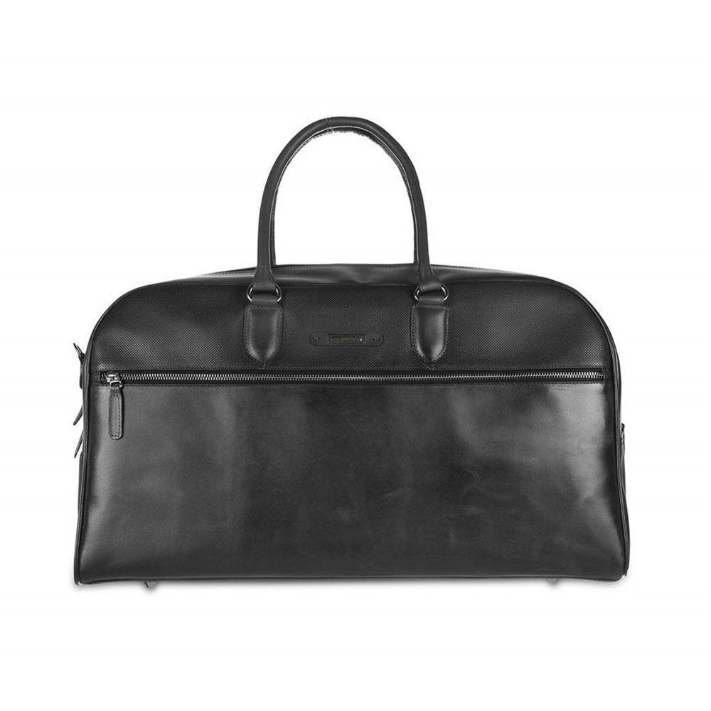 Maletín de viaje negro en piel de becerro con cremalleras en níquel y varios compartimientos.