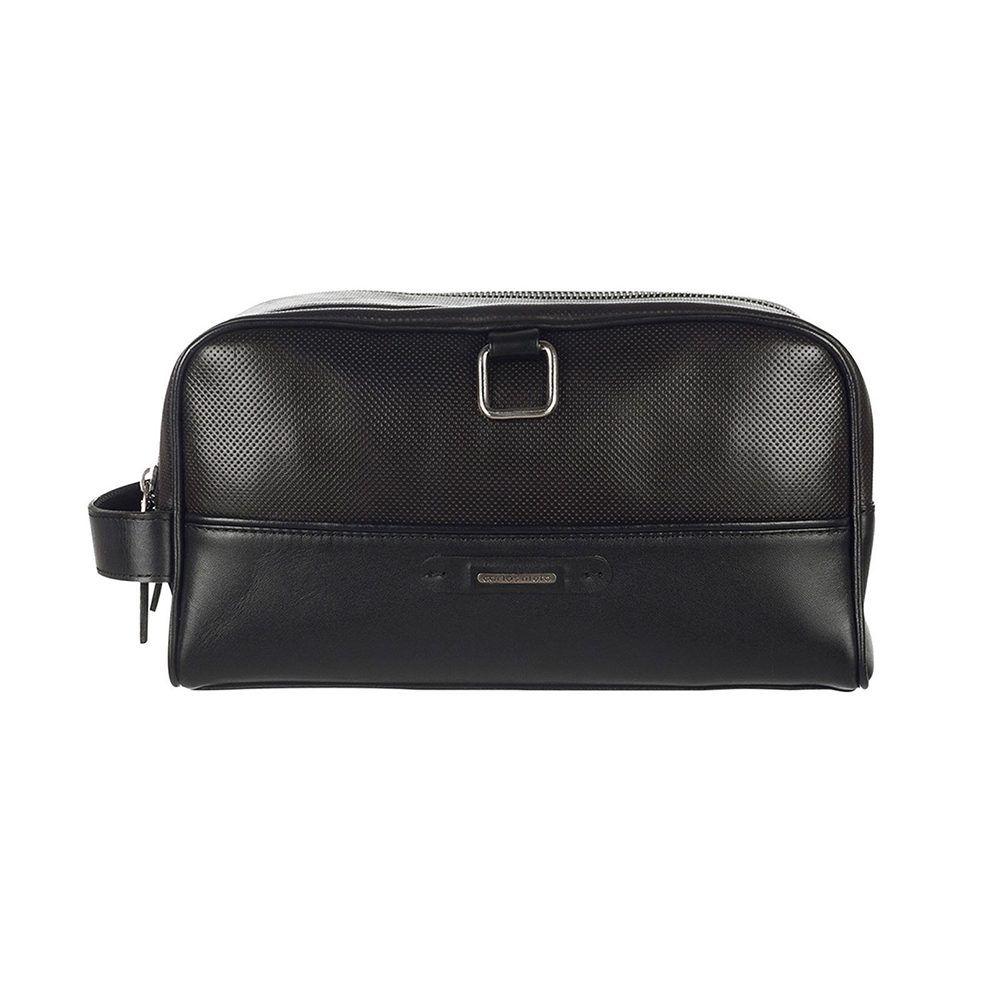 Organizador color negro en cuero con textura bajo relieve, herraje en níquel y aplique CN.