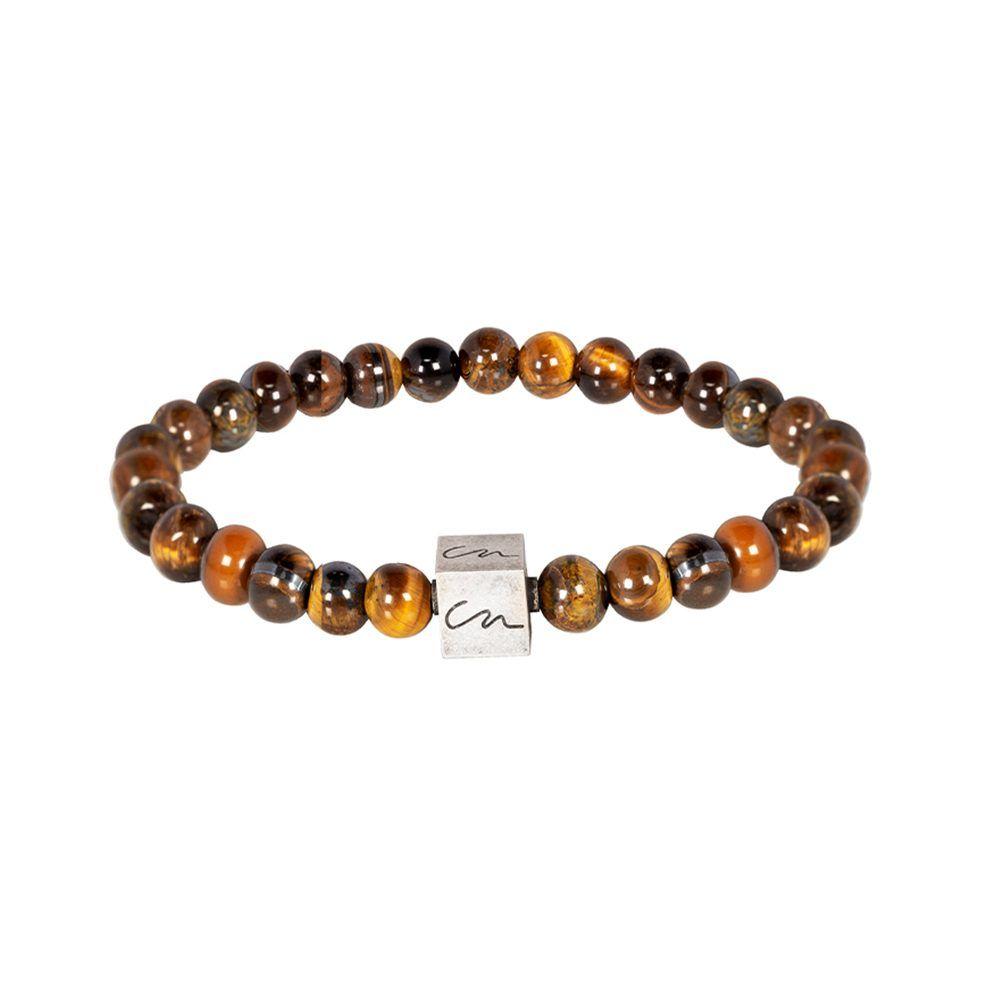 Pulsera con piedras semi-preciosas en tonos ocres y cubo metálico en níquel brillante.