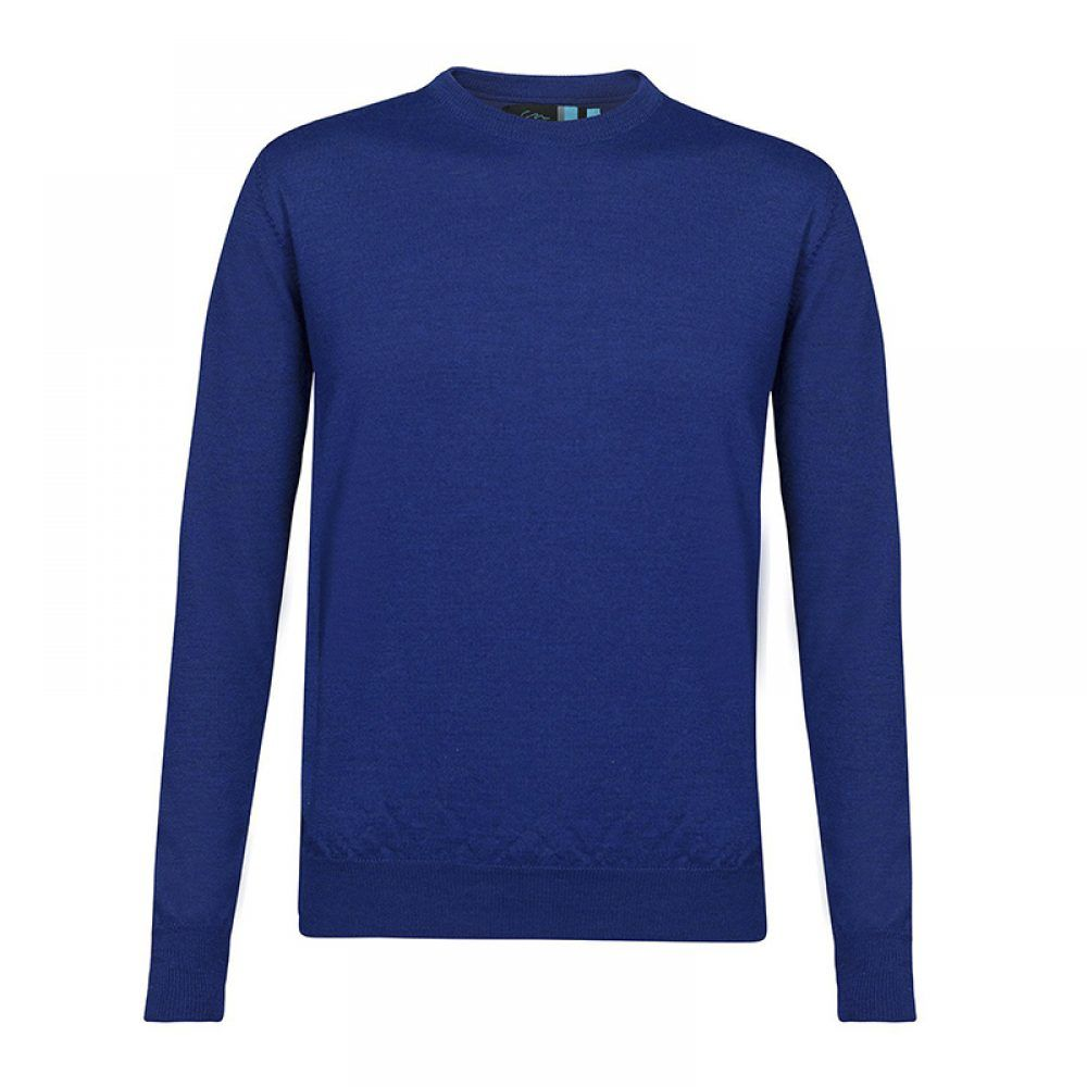 Suéter azul cuello redondo en lana merino Italiana, con tejido ligero tipo jersey.