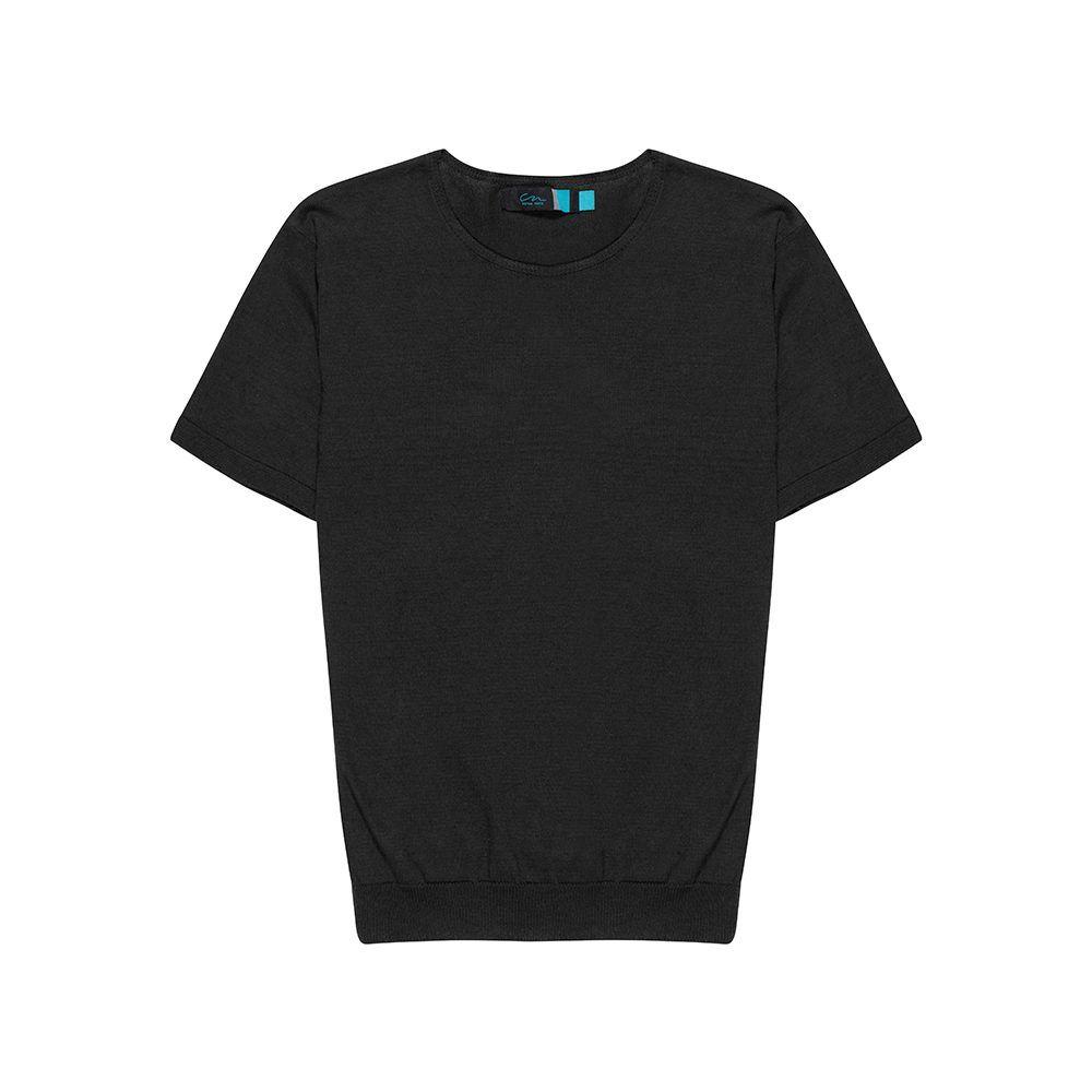 Suéter negro cerrado manga corta en algodón.