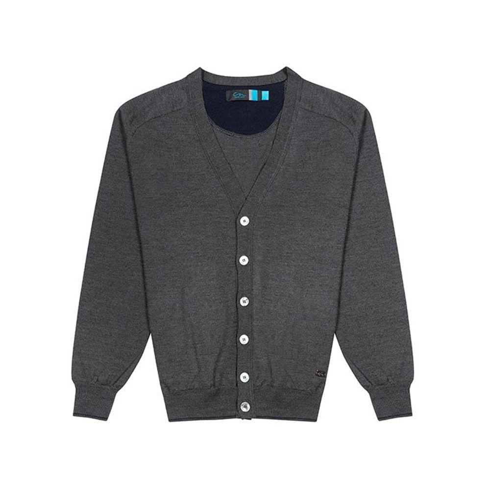 Suéter abierto gris oscuro tipo cárdigan con botonadura frontal, Tejido en lana merino Italiana.