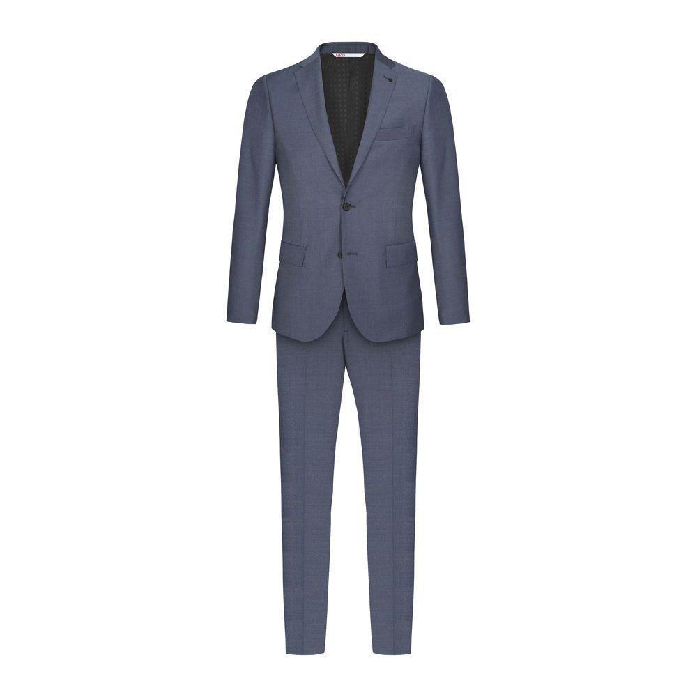Traje azul micro diseño en 100% lana Italiana
