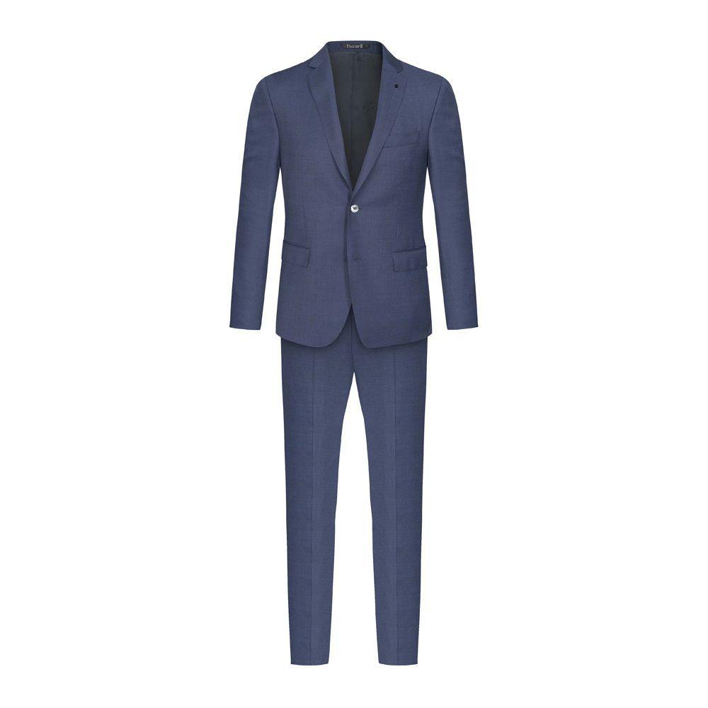 Traje azul micro diseño en 100% lana