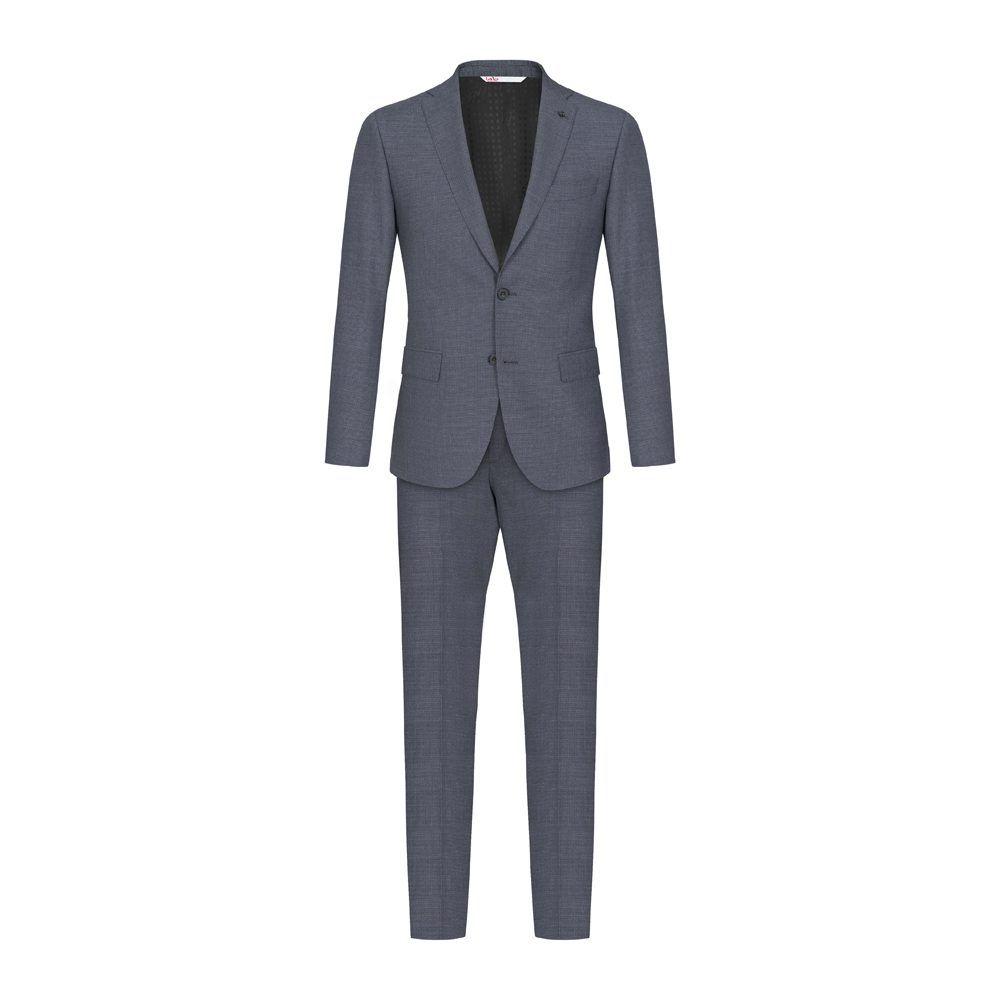 Traje azul oscuro con sutiles micro diseños en 100% lana Italiana de Marzotto.