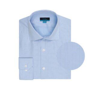 Camisa azul clara con micro diseño en 100% algodón extrafino Italiano.