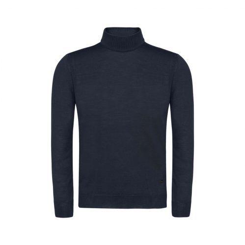 Suéter azul oscuro cuello tortuga