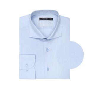 Camisa azul clara en algodón 100%.