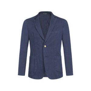 Saco azul des-estructurado sin forro, bolsillo de parche y puntada decorativa.