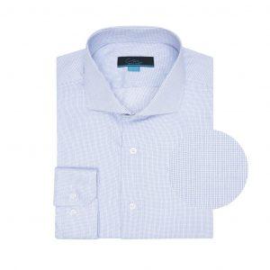 Camisa azul a cuadros 100% algodón.