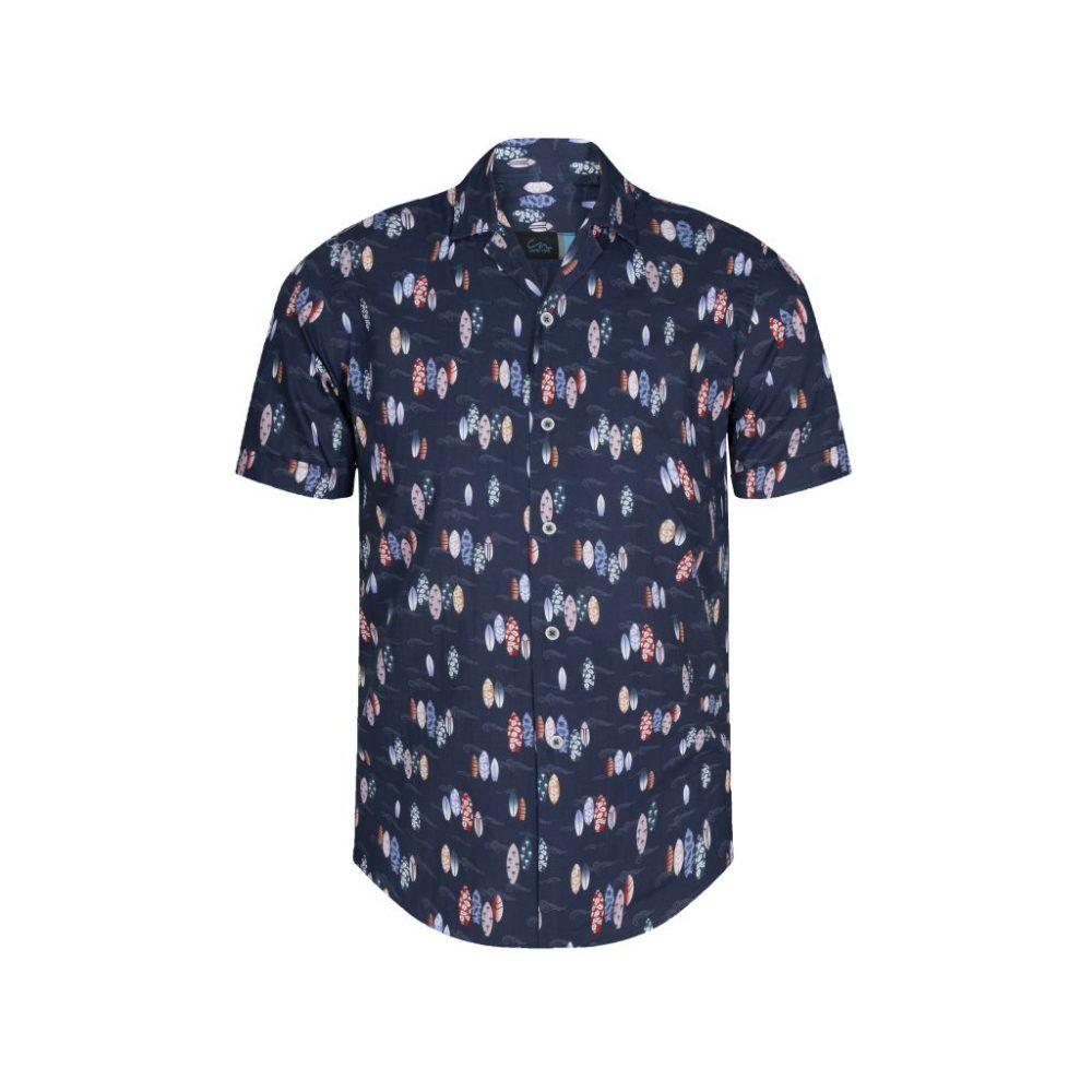 Camisa azul estampada tipo hawaiana manga corta y cuello con solapa de origen Español.