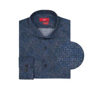 Camisa azul oscura mini-print en algodón 100% de Tekstina. Silueta slim fit, cuello frances corto con button under.