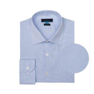 Camisa azul clara con mini-cuadros, en 100% algodón Italiano de Canclini.