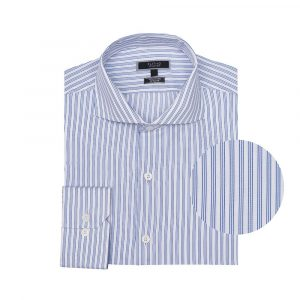 Camisa azul a rayas, en algodón extrafino 100% Italiano de Canclini.
