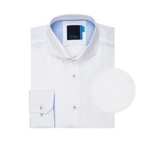 Camisa blanca micro diseño de puntos, en 100% algodón Peruano.
