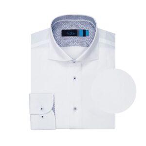 Camisa blanca micro diseño, en 100% algodón.