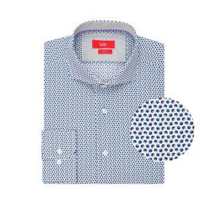 Camisa blanca con estampado de puntos en algodón 100% Esloveno.