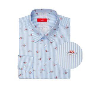 Camisa a rayas azul clara con estampado de tiburones en algodón 100% Italiano.