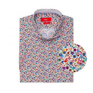 Camisa de flores multicolor en algodón 100% de origen Italiano.