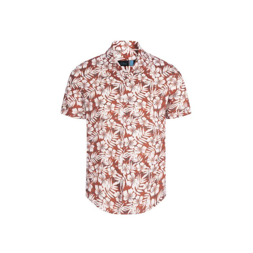 Camisa terracota tipo hawaiana manga corta.