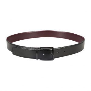 Cinturón reversible negro - café en cuero y hebilla en níquel.