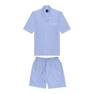 Pijama azul clara de dos piezas en 100% algodón de origen Español.