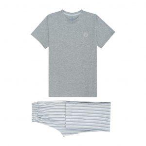 Pijama gris de dos piezas en 100% algodón.