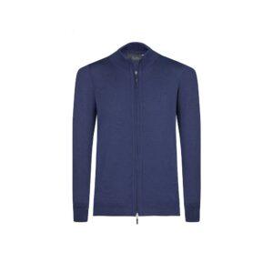 Suéter abierto azul oscuro cuello nerhú con cremallera.