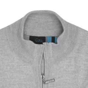 Suéter abierto gris claro cuello nerhú con cremallera.