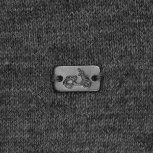 Suéter abierto gris medio cuello nerhú con cremallera.